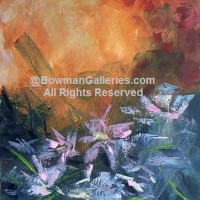 Painting - Pink Flowers In Sunset