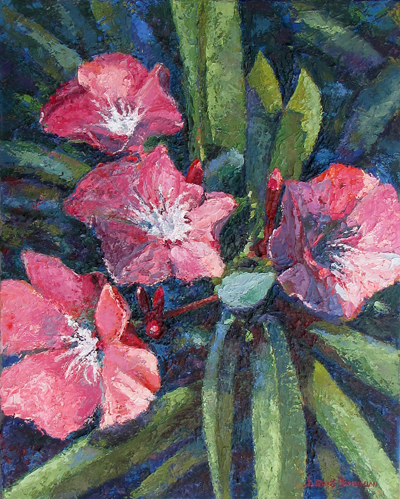 Oil Painting Flowers In Bloom